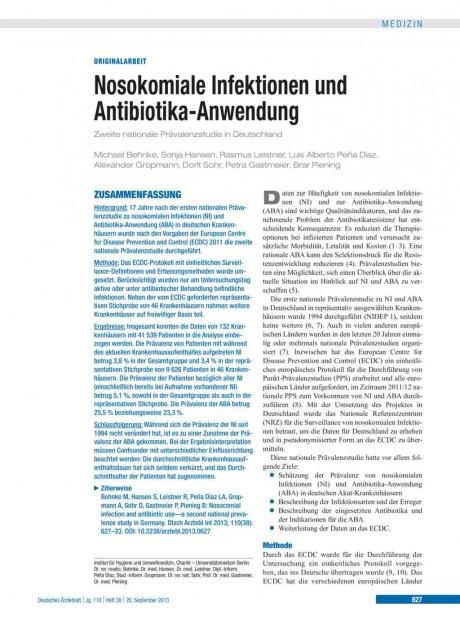 Nosokomiale Infektionen und Antibiotika-Anwendung