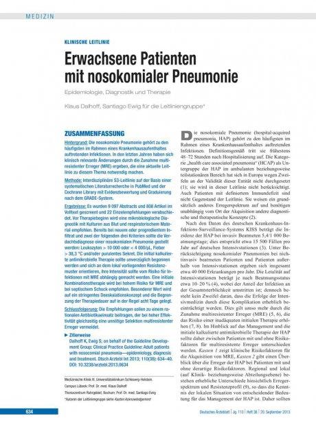 Erwachsene Patienten mit nosokomialer Pneumonie