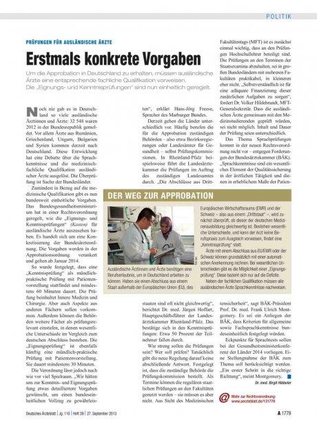 Prüfungen für Ausländische Ärzte