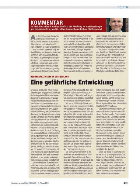 Honorararztwesen in Deutschland