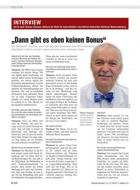 Interview mit Dr. med. Thomas Thomsen, Chefarzt...