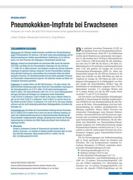 Pneumokokken-Impfrate bei Erwachsenen