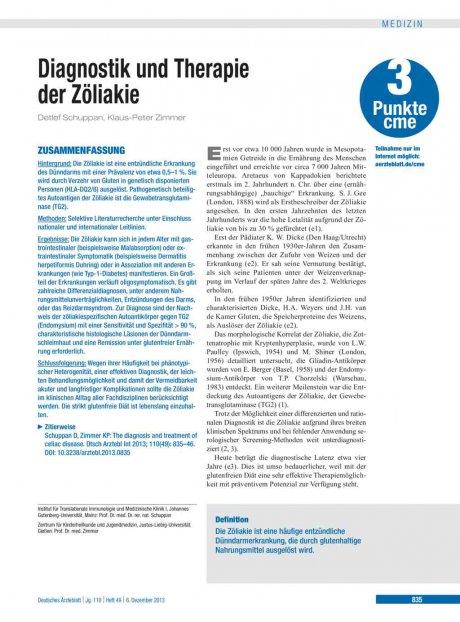 Diagnostik und Therapie der Zöliakie