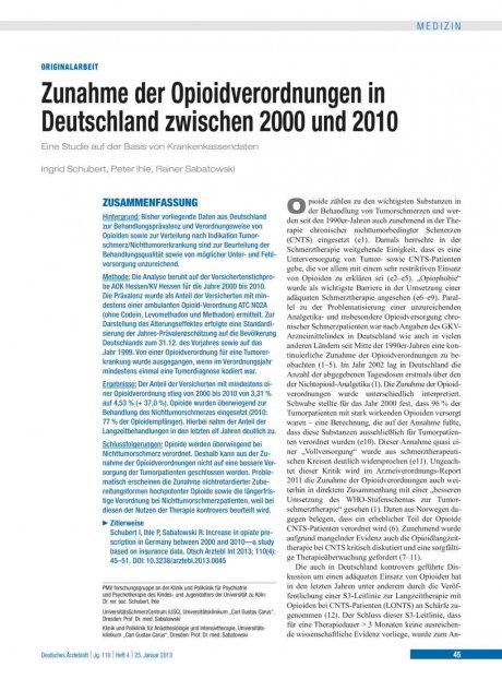 Zunahme der Opioidverordnungen in Deutschland...