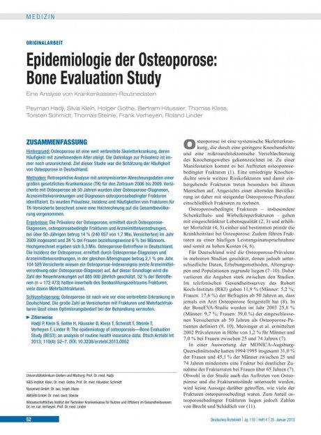 Epidemiologie der Osteoporose – Bone Evaluation...