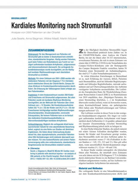 Kardiales Monitoring nach Stromunfall