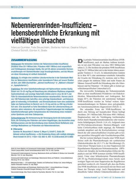 Nebennierenrinden-Insuffizienz – lebensbedrohliche...