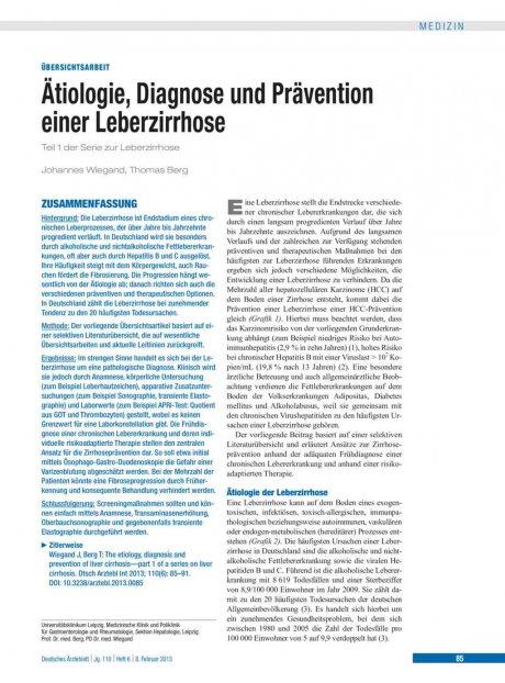 Ätiologie, Diagnose und Prävention einer...