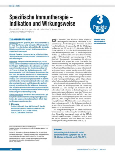 Spezifische Immuntherapie – Indikation und...