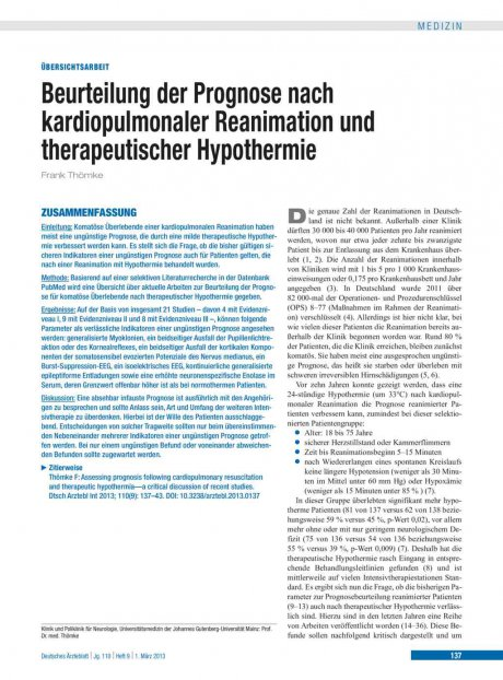 Beurteilung der Prognose nach kardiopulmonaler...