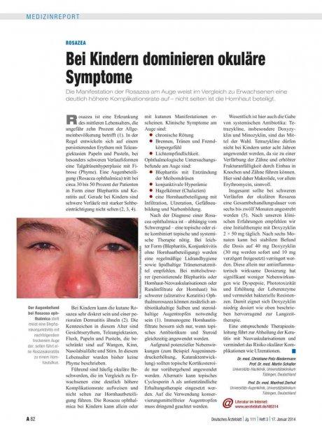 Rosazea: Bei Kindern dominieren okuläre Symptome