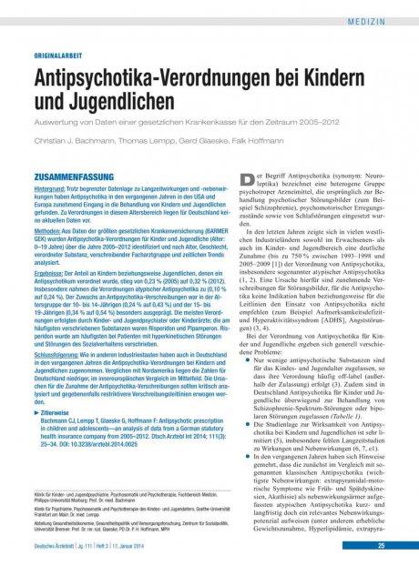 Antipsychotika-Verordnungen bei Kindern und...
