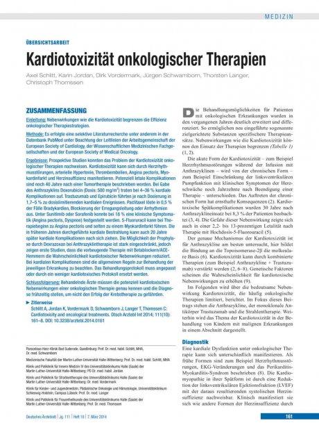 Kardiotoxizität onkologischer Therapien