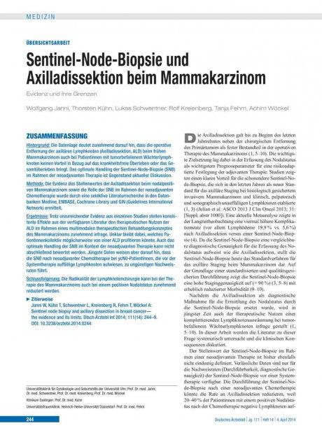 Sentinel-Node-Biopsie und Axilladissektion beim...