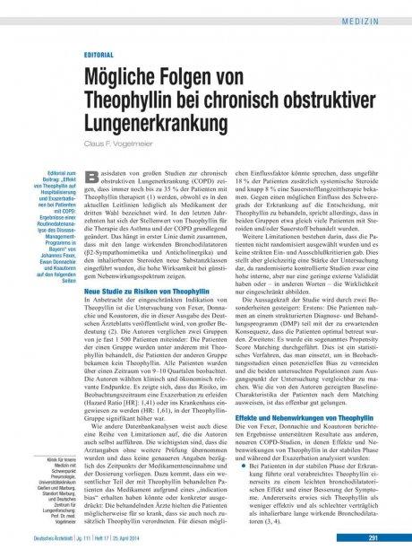 Mögliche Folgen von Theophyllin bei chronisch...