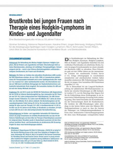 Brustkrebs bei jungen Frauen nach Therapie eines...