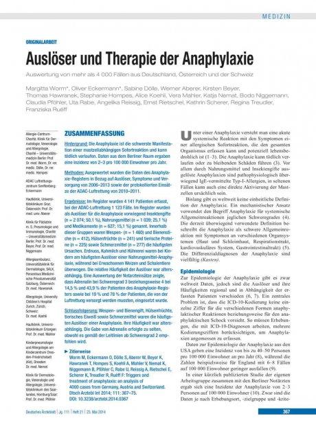 Auslöser und Therapie der Anaphylaxie
