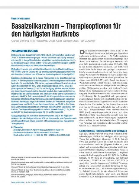 Basalzellkarzinom – Therapieoptionen für den...