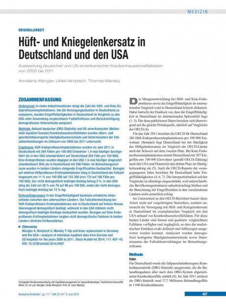 Hüft- und Kniegelenkersatz in Deutschland und den...