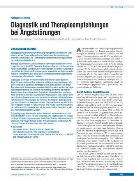 Diagnostik und Therapieempfehlungen bei...