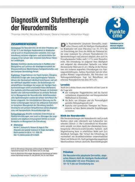 Diagnostik und Stufentherapie der Neurodermitis
