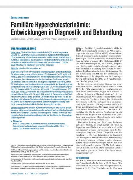 Familiäre Hypercholesterinämie
