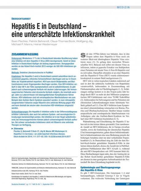 Hepatitis E in Deutschland – eine unterschätzte...