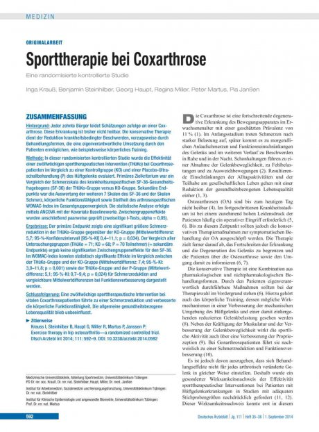 Sporttherapie bei Coxarthrose