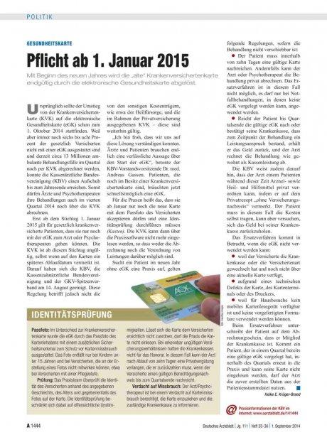 Gesundheitskarte: Pflicht ab 1. Januar 2015