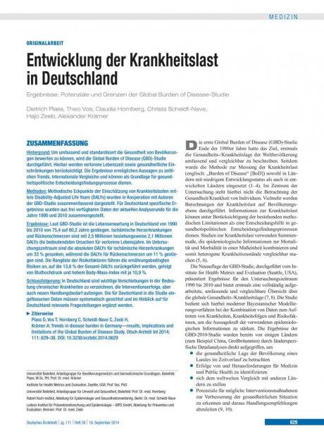 Entwicklung der Krankheitslast in Deutschland