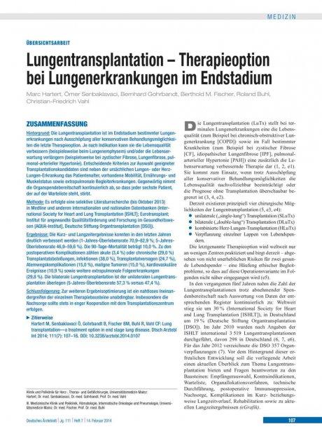 Lungentransplantation – Therapieoption bei...