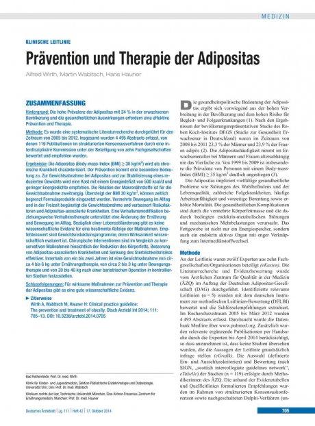 Prävention und Therapie der Adipositas