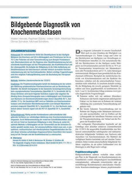 Bildgebende Diagnostik von Knochenmetastasen