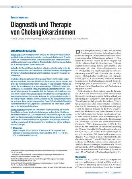 Diagnostik und Therapie von Cholangiokarzinomen