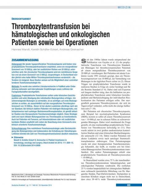 Thrombozytentransfusion bei hämatologischen und...