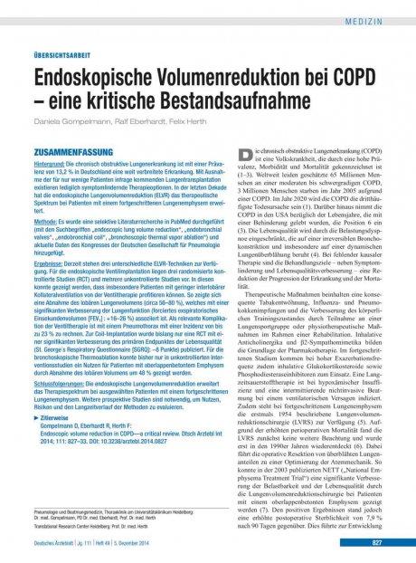 Endoskopische Volumenreduktion bei COPD – eine...