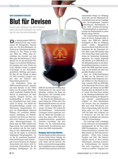 DDR-Gesundheitswesen: Blut für Devisen