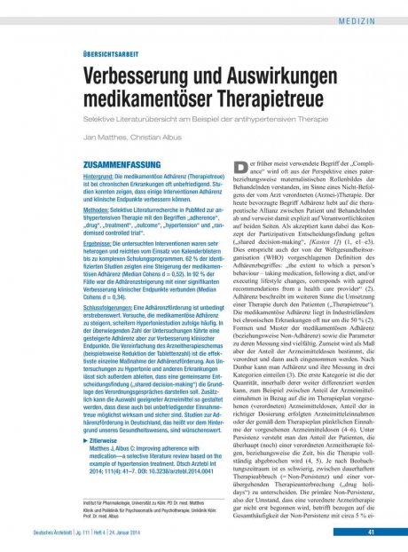 Verbesserung und Auswirkungen medikamentöser...