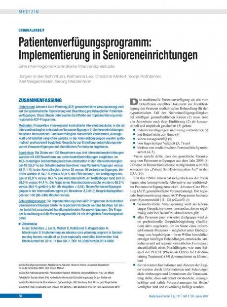 Patientenverfügungsprogramm – Implementierung in...