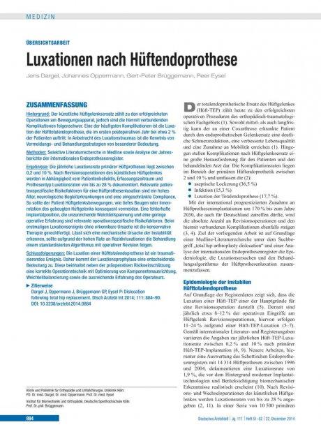 Luxationen nach Hüftendoprothese