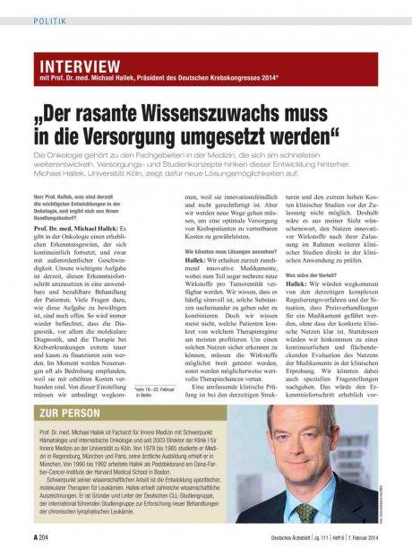 """Interview mit Prof. Dr. med. Michael Hallek, Präsident des Deutschen Krebskongresses 2014*: """"Der rasante Wissenszuwachs muss in die Versorgung umgesetzt werden"""""""