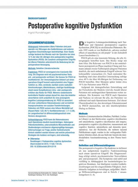 Postoperative kognitive Dysfunktion