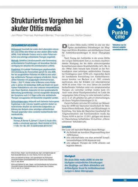 Strukturiertes Vorgehen bei akuter Otitis media