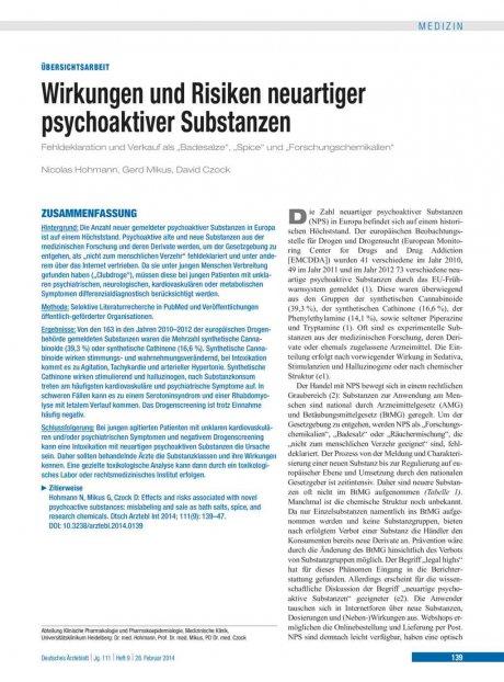 Wirkungen und Risiken neuartiger psychoaktiver...