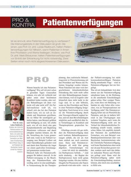 Pro und Kontra: Patientenverfügungen