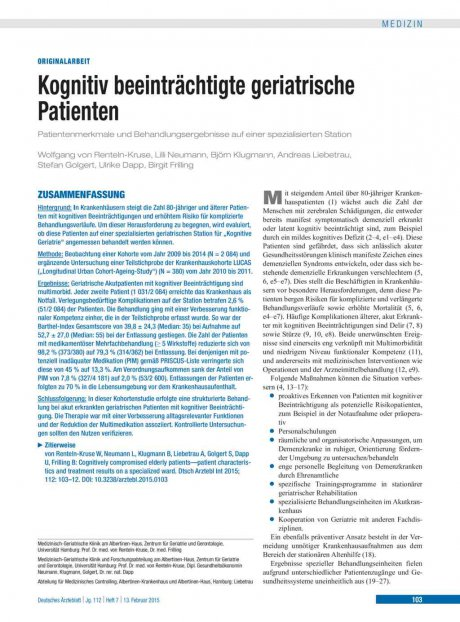 Kognitiv beeinträchtigte geriatrische Patienten