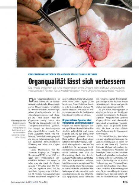Konservierungsmethoden von Organen für die...