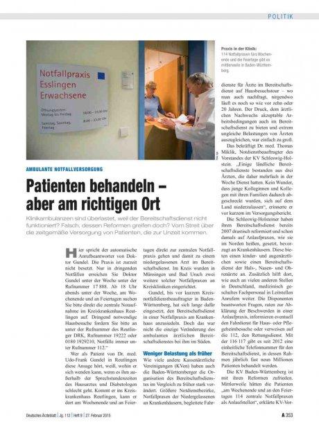 Ambulante Notfallversorgung: Patienten behandeln – aber am richtigen Ort