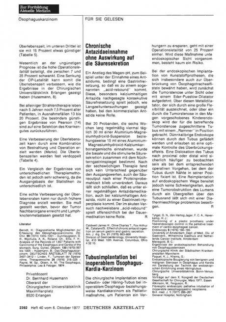 Tubusimplantation bei inoperablem ösophagus-...