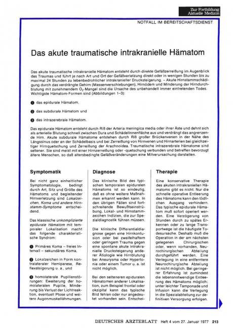 Das akute traumatische intrakranielle Hämatom